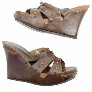 Report Wedge Sandals Strappy Studded Chocolate 10